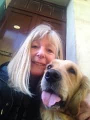 me with Zoe, my friend's golden retriever.