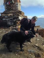Terry with DomChu, canine hiking companion in Bhutan