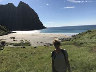 Hiking in Lofoten, in the north of Norway