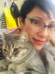 Me with my kitty Button.