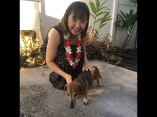 With my friend's dog Mallow in Hawaii