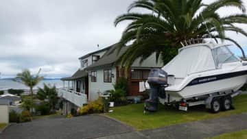 This is our home and boat at the beach.