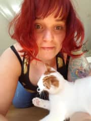 Kalina with friend's cat, Fanta, which we have sitted in our apartment
