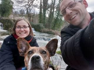 Anita, Bingo and Attila hiking in Croatia