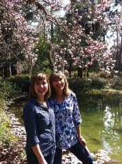 Me with my daughter on a garden walk in Florida