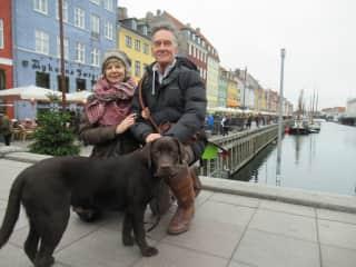 With Buddha puppy, exploring Copenhagen