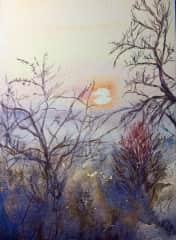 Watercolor,  Winter Sunset, by D. Pogorzelski
