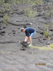 Here I am starting an inukshuk in Hawaii Volcano National Park