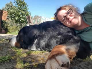 Cuddles with Baloo in Tuscany