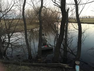 Mike fishing on one of our farm ponds. Can you say relaxing?