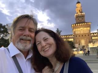 Outside Sforzesco Castle in Milano, Italy.