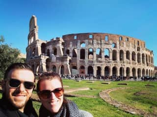 My husband and I in Rome. We love to travel!!