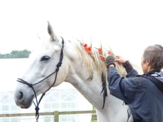 Taipan and Me preparing for our horse dance