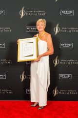 Deb after being inducted into Australian Sporting Hall of game for water polo