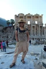 Debra exploring Ephesus Ruins in Turkey