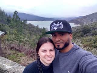 My husband Jorge and I in Redding, California, 2021