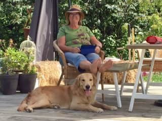 Laureen and Fenrir at the hobby farm