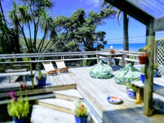 The front deck overlooking the road and beach