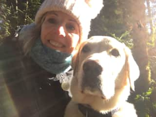 Benny, handsome yellow Labrador and me in Sooke, BC, Canada, Feb 2017