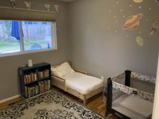 Third bedroom with child's bed and crib (or queen blow up mattress available to use in room).