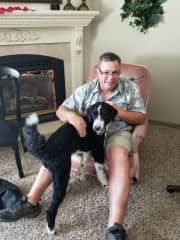 Boscoe loves to play with Dave
