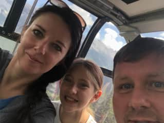 Going up a gondola in the Canadian Rocky Mountains with my niece