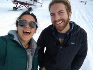 My partner and I working in Alaska on a glacier.