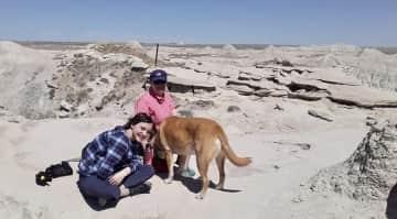 Alison, Kathryn, and Liszt hiking in Nebraska (April 2020)
