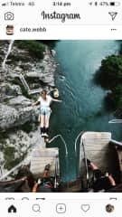 Cate bungee jumping in New Zealand