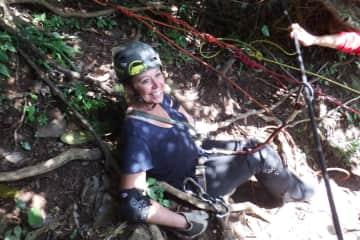 Rappelling down a waterfall in Belize!