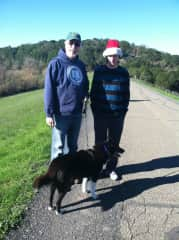Jesse with our youngest son, Eli, walking Lucy.  I'm always behind the camera!