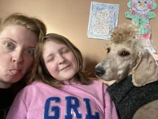 Me, my daughter, and Kara with a bad haircut