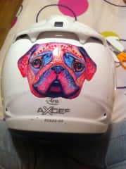 We like to go by motorcycle. This is Nuria's helmet with a pug