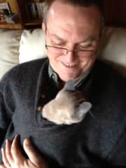 Richard with Friend's Kitten Kuschel