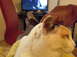 Kahlisi and me watching TV