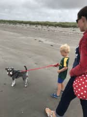 Wilson and my nephew on our local beach