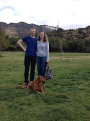We enjoy looking after dogs. Here's both of us with beautiful Belle in Hollywood!
