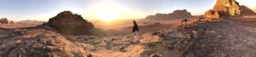 Wadi Rum Jordan at sunset.