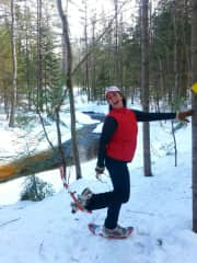 Snowshoeing in Maine.