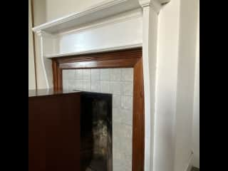 One of the four old fireplaces