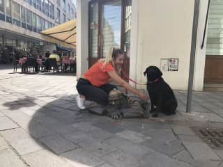 Bratislava- wanted her to touch the head as this brings luck. Emma was happy