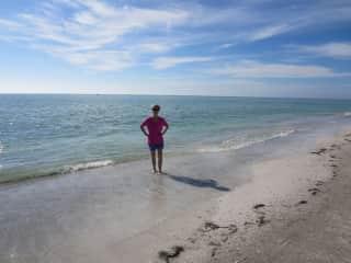 Sharon enjoys the beach.