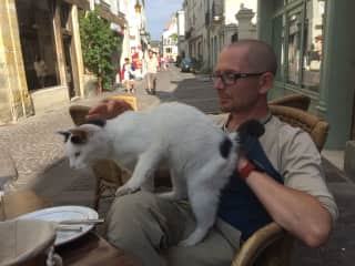 Bonding with a street cat in France
