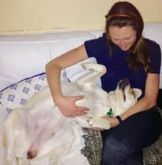 Jessica petsitting and loving on Riley!