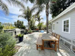 backyard with outdoor kitchen and view of the Los Gatos mountains