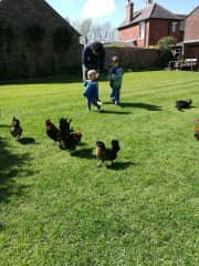 Phil, Robin, Bonnie and some friendly poultry, 2017