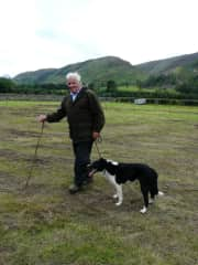 """Scottish Sheep Trial Champion (Andrew) with his Champion sheepdog """"Johnny"""""""