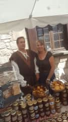 jonathan and elizabeth at the annual honey market in our local village selling our wares