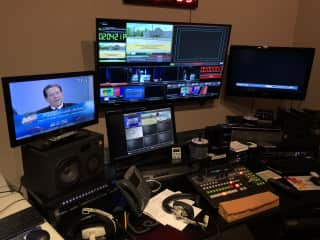 Behind the scenes at the TV Station - directing a talk show.