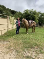 Helping my sister with her horse.